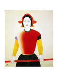 A Girl with a Red Pole, 1932-1933 Reproduction procédé giclée par Kazimir Malevich