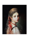 Portrait of a Young Woman in Sarafan and Kokoshnik, 1820s Giclee Print by Mauro Gandolfi