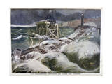 A Shipwreck in Front of the Port of Dieppe, 1899 Giclee Print by Oswaldo Tofani
