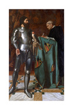 Knight Dictating a Letter to a Monk, 1865 Giclee Print by Octave Penguilly l'Haridon