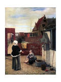 A Woman and Her Maid in a Courtyard, C1660-1661 Giclee Print by Pieter de Hooch