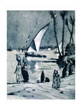 Carrying Water from the Nile, Cairo, Egypt, 1928 Giclee Print by Louis Cabanes