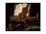 Still Life with a Violin, 19th Century Lámina giclée por Pierre Justin Ouvrie