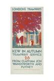 Kew in Autumn, London County Council (LC) Tramways Poster, 1925 Impression giclée par Leslie Porter