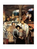 Jews Praying in the Synagogue on Yom Kippur, 1878 Giclée-tryk af Maurycy Gottlieb