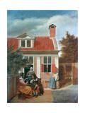 Three Women and a Man in a Courtyard Behind a House, C1657-1659 Giclee Print by Pieter de Hooch