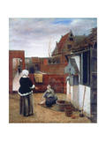 A Woman and a Maid in a Courtyard, C1660-1661 Reproduction procédé giclée par Pieter de Hooch