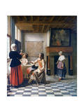 Interior, Woman Drinking with Two Men, and a Maidservant, C1658 Giclee Print by Pieter de Hooch