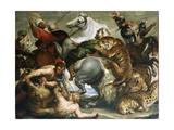 Tiger, Lion and Leopard Hunt, 1616 Giclée-tryk af Peter Paul Rubens