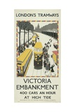 Victoria Embankment, London County Council (LC) Tramways Poster, 1926 Giclee Print by Monica Rawlins