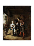 Warrior and Servant, 1653 Giclee Print by Pieter de Hooch