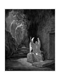 Angel Showing Mary Magdalene and 'The Other Mary' Christ's Empty Tomb, 1865-1866 Giclée-tryk af Gustave Doré