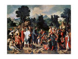The Healing of Blind Man of Jericho, (Central Pane), 1531 Giclee Print by Lucas van Leyden