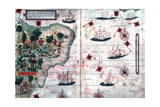 Map of Brazil by Portuguese Navigators Pedro Reinel and Lopo Homen, C1525 Giclee Print by Lopo Homen