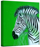 zebras green Gallery-Wrapped Canvas Stretched Canvas Print