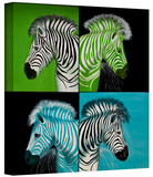 zebras blue green Gallery-Wrapped Canvas Stretched Canvas Print