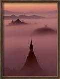 Pagoda in the Mist at Mrauk-U, Burma Framed Photographic Print by Christophe Loviny