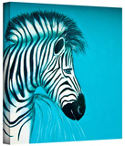 zebras blue Gallery-Wrapped Canvas Stretched Canvas Print