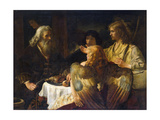 Abraham and the Three Angels, 1630S Giclee Print by  Rembrandt van Rijn
