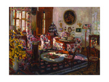 Interior in the Manor House Brasovo, 1912 Giclee Print by Stanislav Julianovic Zukovskij