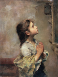 Praying Girl, Italian Painting of 19th Century Stampa giclée di Roberto Ferruzzi