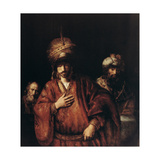 Haman Recognizes His Fate, C1665 Giclee Print by  Rembrandt van Rijn