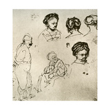 A Page of Sketches, 1913 Giclee Print by  Rembrandt van Rijn