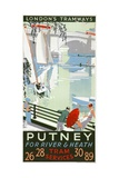 Putney, for River and Heath, London County Council (LC) Tramways Poster, 1932 Giclee Print by RF Fordred