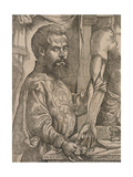 Andreas Vesalius Dissecting the Muscles of the Forearm of a Cadaver, 1543 Giclee Print by Steven van Calcar