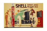 Poster Advertising Shell Spirit and Motor Oils Giclee Print by René Vincent
