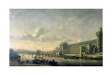 View of the Seine with the South Facade of the Louvre Gallery, Paris, 1660 Giclee Print by Reinier Zeeman