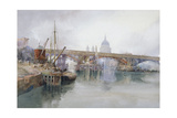 Southwark Bridge in Course of Demolition, 1915 Giclee Print by Richard Henry Wright