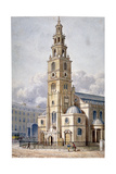 South-West View of the Church of St Clement Danes, Westminster, London, 1814 Giclee Print by Thomas Hosmer Shepherd