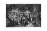 Cafes on a Branch of the Barrada River (The Ancient Pharpa), Damascus, Syria, 1841 Giclee Print by S Smith