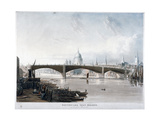 View of 'Southwark Iron Bridge' from Bankside, London, 1819 Giclee Print by Thomas Sutherland