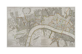 Map of Westminster, the City of London, Southwark and Surrounding Areas, 1739 Giclee Print by Sutton Nicholls