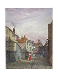 View of a Woman and a Child Walking Down Crown Court, Bermondsey, London, C1825 Gicléetryck av W Barker