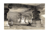 Interior of Lanka, Ellora, India, 1845 Giclee Print by Thomas Colman Dibdin