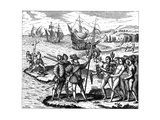 Christopher Columbus, Genoese Explorer, Discovering America, May 1492 Giclee Print by Theodor de Bry