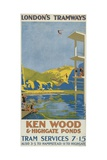 Kenwood and Highgate Ponds, London County Council (LC) Tramways Poster, 1927 Giclee Print by Van Jones