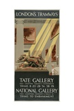 Tate Gallery, National Gallery, London County Council (LC) Tramways Poster, 1927 Giclee Print by Tony Castle
