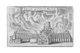 Old St Paul's Cathedral Burning in the Great Fire of London, 1666 Lámina giclée por Wenceslaus Hollar