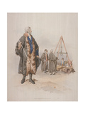 Ward Beadle in Civic Costume, Holding a Staff, at a Wardmote Inquest, 1805 Giclee Print by William Henry Pyne