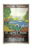 St James Park, London County Council (LC) Tramways Poster, 1933 Giclee Print by W Langlands