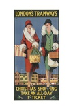 Christmas Shopping, Take an All-Day 1/- Ticket, London County Council (LC) Tramways Poster, 1926 Giclee Print by Tony Castle