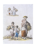 Women and Children Gleaning, Provincial Characters, 1802 Giclee Print by William Henry Pyne