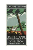 Putney Heath, Wimbledon, London County Council (LC) Tramways Poster, 1927 Giclee Print by Tony Castle