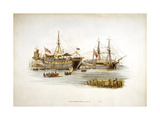 Prison Ships (Hulks or Tender) in the Thames Off the Tower of London, 1805 Giclee Print by William Henry Pyne