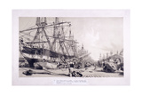 West India Docks, Poplar, London, 1830 Giclee Print by William Parrott