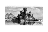 Fishermen's Huts, Borneo, 19th Century Giclee Print by T Weber